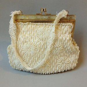 Winter White Beaded Purse Vintage Evening Hand Bag